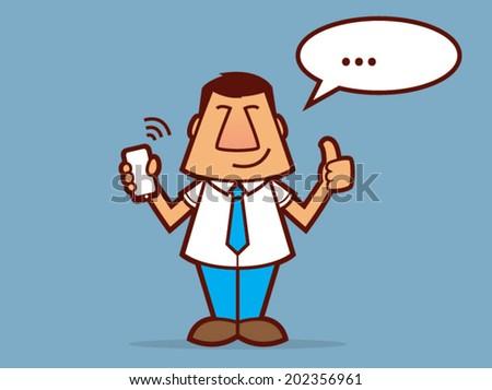 Cartoon man wearing a tie and holding a cell phone/Salesman Vector Cartoon - stock vector