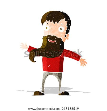cartoon man with beard waving - stock vector
