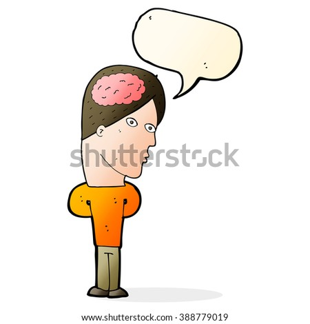 cartoon man with big brain with speech bubble - stock vector