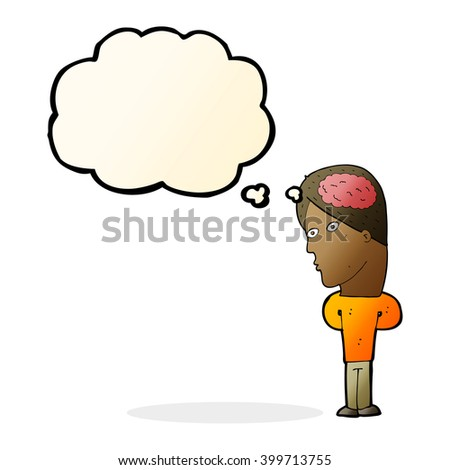 cartoon man with big brain with thought bubble - stock vector