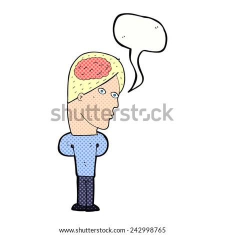 cartoon man with brain symbol - stock vector