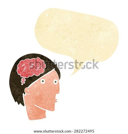 cartoon man with brain symbol with speech bubble - stock vector
