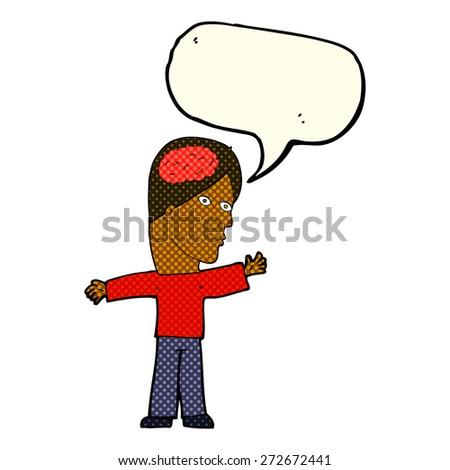 cartoon man with brain with speech bubble - stock vector