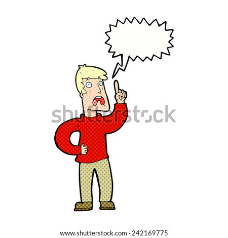 cartoon man with complaint with speech bubble - stock vector