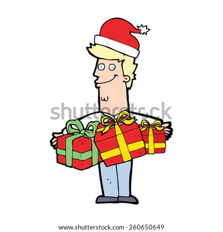 cartoon man with gifts - stock vector