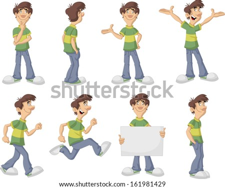 Cartoon man with green shirt on different poses  - stock vector