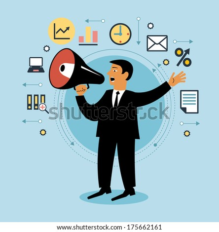 Cartoon man with megaphone and business icons. Giving an announcement. People is using a speaker. Person giving an announcement   - stock vector