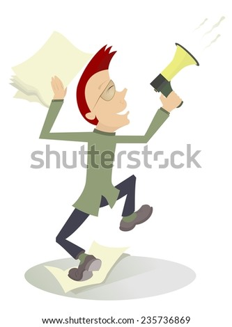 Cartoon man with megaphone makes announcement - stock vector