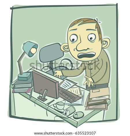 cartoon man messy desk stock photo photo vector illustration rh shutterstock com Dirty Desk Clip Art Clean Desk Clip Art