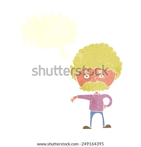 cartoon man with mustache making camp gesture with speech bubble - stock vector