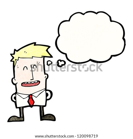 cartoon man with thought bubble - stock vector