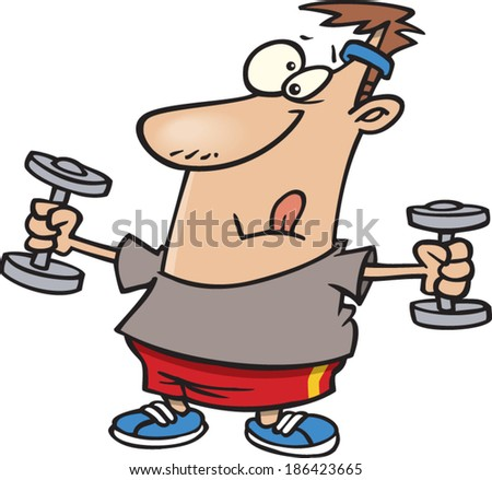 cartoon man working out