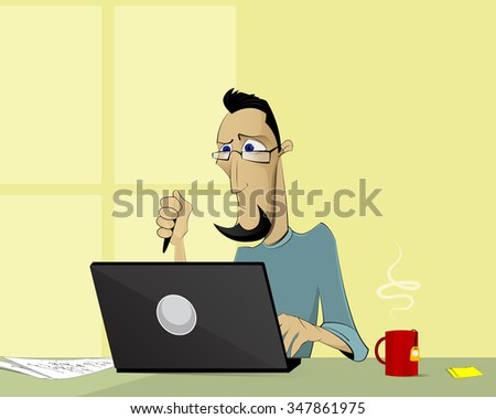Cartoon man working with computer. Office work, writing, journalism, freelance, social media concept illustration. Vector layered illustration - stock vector