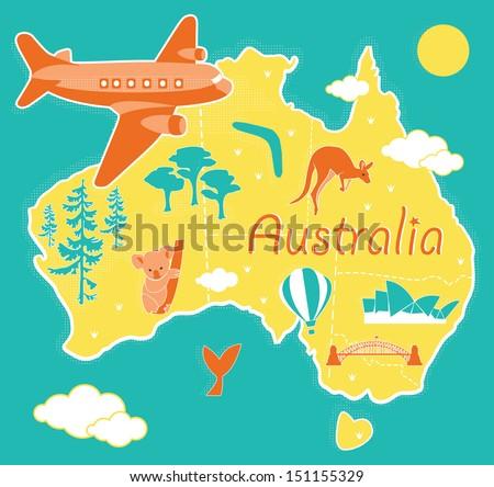 Cartoon map Australia - stock vector