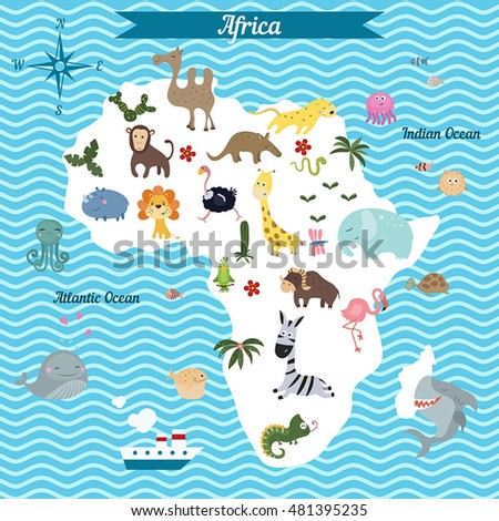 Animals World Map Africa Africa Map Stock Vector 338165573