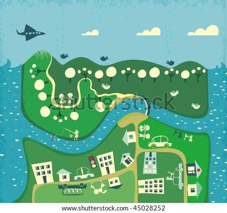 cartoon map of city - stock vector
