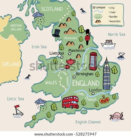 Cartoon Map England Stock Vector 528275947 Shutterstock