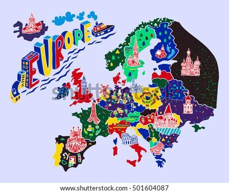 cartoon map europe travels stock vector 501604087 shutterstock