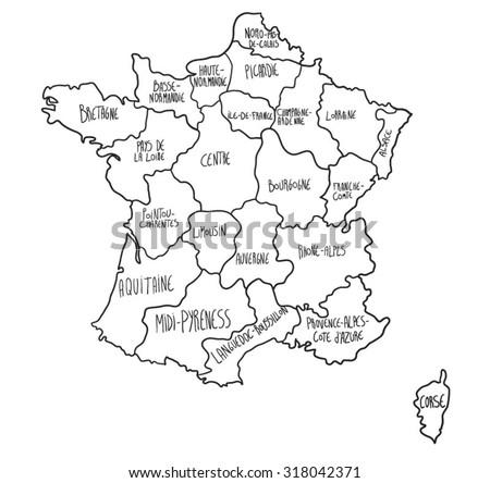 Cartoon map of France - stock vector