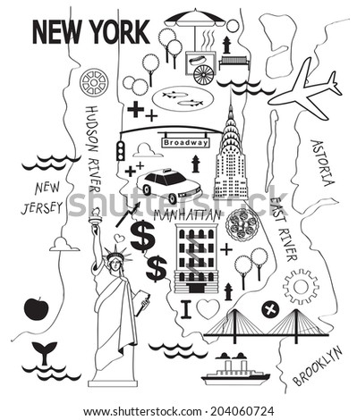 Cartoon Map New York City Stock Vector Shutterstock - New york city map drawing