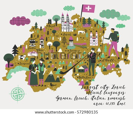 Switzerland Map Stock Images RoyaltyFree Images Vectors - Languages map of switzerland