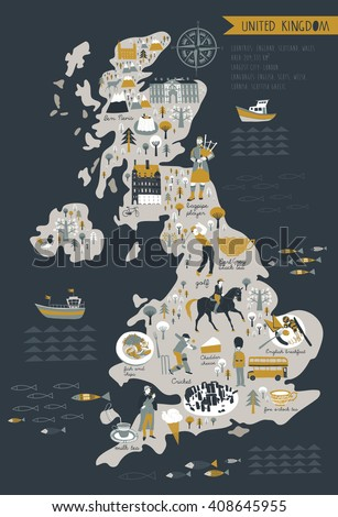 Cartoon Map of United Kingdom with Legend Icons - stock vector