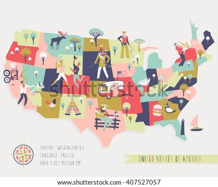 Cartoon Map Usa Legend Icons Stock Vector Shutterstock - Us map cartoon