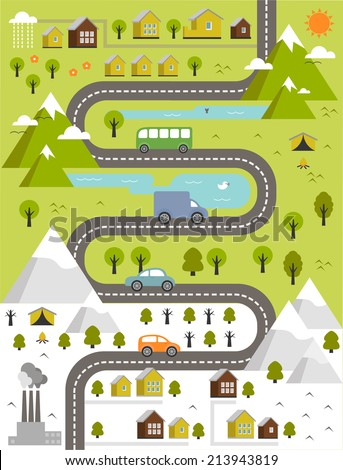cartoon map of winter and summer town - stock vector