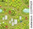 Cartoon map seamless pattern of small town and countryside. Vector landscape. - stock vector