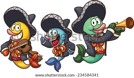 Cartoon mariachi fish. Vector clip art illustration with simple gradients. Each on a separate layer.  - stock vector