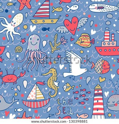 Cartoon marine seamless pattern for childish wallpapers. Octopus, seagulls, fish, whale, sea horse, crab and ships at sea in vector - stock vector