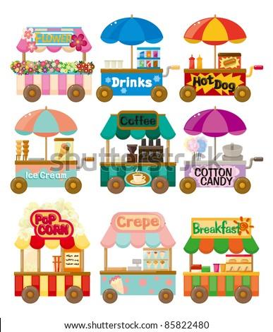 Cartoon market store car icon collection - stock vector