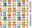cartoon market store car seamless pattern - stock vector