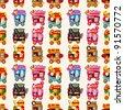 Cartoon market store car seamless pattern - stock photo