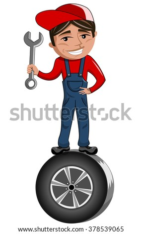 Cartoon mechanic holding spanner and standing on car tire isolated - stock vector