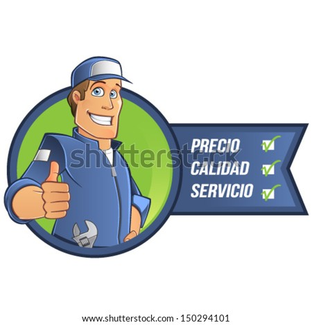 Cartoon mechanic in Spanish - stock vector