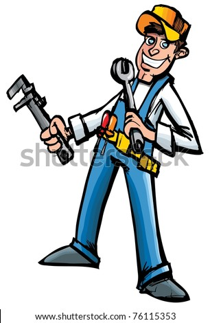 Cartoon mechanic with tools. Isolated on white