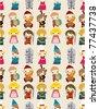 cartoon Medieval people seamless pattern - stock vector