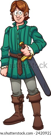 Cartoon medieval prince. Vector clip art illustration with simple gradients. All in a single layer. - stock vector