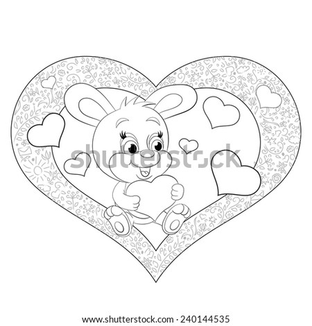 Cartoon merry rabbit with heart. Valentine card. Coloring book. - stock vector
