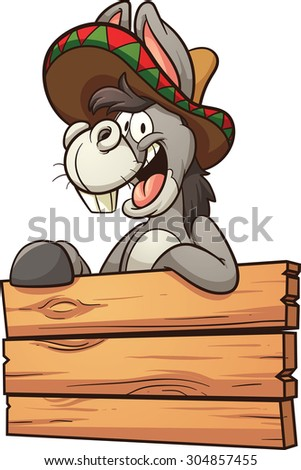 Cartoon Mexican donkey with wooden sign. Vector clip art illustration with simple gradients. All in a single layer.  - stock vector