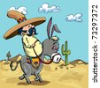 Cartoon Mexican wearing a sombrero riding a donkey in the desert - stock photo