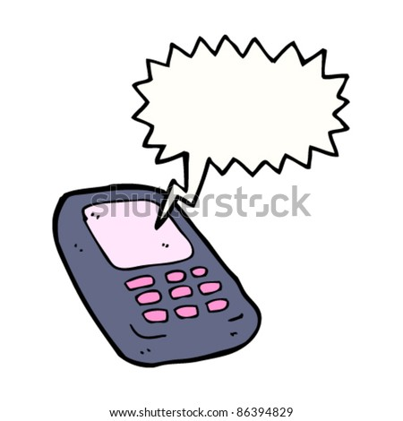 cartoon mobile phone - stock vector