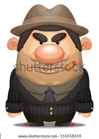 Cartoon Mobster - stock vector