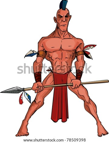 Cartoon Mohawk warrior with a spear. Isolated on white - stock vector