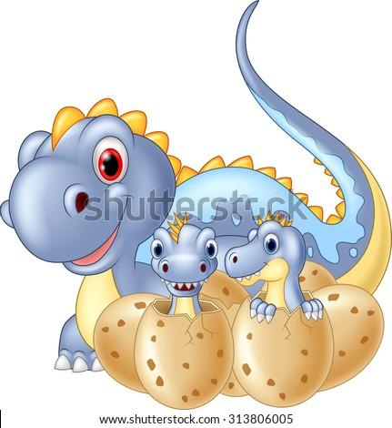 Cartoon mom dinosaur and baby dinosaurs hatching - stock vector