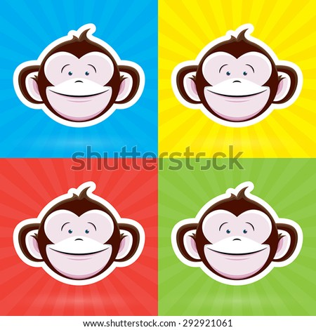 Cartoon Monkey Face with Happy Childlike Expression on Colorful Background - Vector Design - stock vector