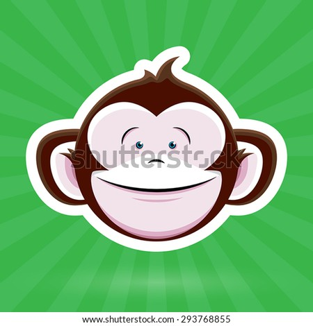 Cartoon Monkey Face with Happy Childlike Expression on Green Background - Vector Design - stock vector