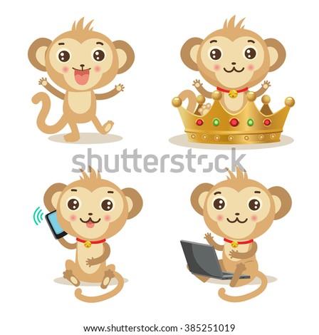 Cartoon monkey set. Cute monkey pictures: gold crown, phone, laptop, dancing. Set of  fun monkey. Celebration monkey  vector collection. Monkey mascot. Set of 4 Cartoon Chinese Zodiac Monkeys symbol. - stock vector