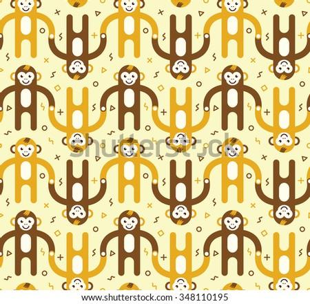 Cartoon monkeys seamless pattern. - stock vector